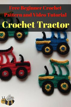 Learn how to make this crochet tractor with my beginner crochet pattern and video tutorial at Kerri's Crochet. Crochet Applique Patterns Free, Crochet Bookmark Pattern, Crotchet Patterns, Crochet Bookmarks, Crochet Patterns For Beginners, Crochet Appliques, Free Pattern, Crochet Birds, Crochet Crafts