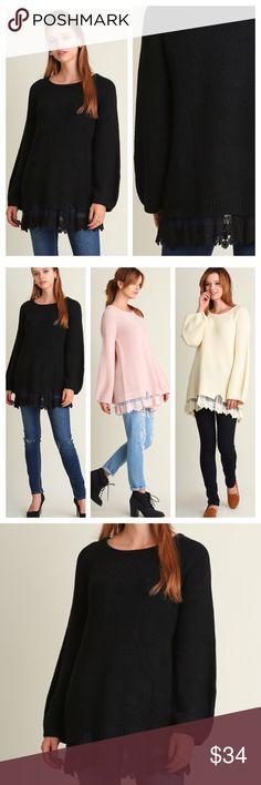 "BEAUTIFUL LACE HEM SWEATER! Gorgeous light cable knit sweater with feminine lace hem. Loose sleeves, oversized. Also available in pink and créme in a separate listing.                                                                                 ♦️S: bust 41"" hips 47"" length 30.5""                                   ♦️M: bust 43"" hips 49"" length 31""                                 ♦️L: bust 45"" hips 51"" length 31.5"" tla2 Sweaters Crew & Scoop Necks"