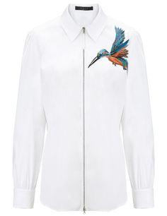 White Poplin Stretch Shirt   Giles   Avenue32