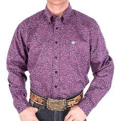 Men's Cinch Purple Paisley Print Buttondown Shirt