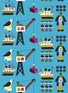 Laivakoira-kangas (sininen,pinkki,t.sininen) |Kankaat, Puuvillakankaat | Marimekko