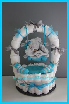 Original baby boy baptism gift diaper cake: decoration… - Baby Diy - Cool And Trendy Decor - Find The Most Searched Decor Ideas of All Time Baby Shower Cakes, Deco Baby Shower, Baby Shower Diapers, Baby Shower Parties, Baby Boy Shower, Baby Showers, Baby Shower Gifts, Diaper Cake Boy, Nappy Cakes