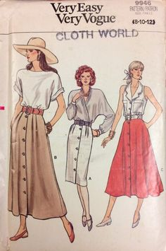 Skirts Uncut Vogue 9946 Misses' Skirts Vintage 1980's Sewing Pattern  Size 8 -12 Complete Uncut FF