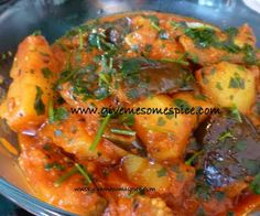 Potatoes and Aubergine ( Eggplant ) Curry (Ringna bateta nu shak) Authentic Vegetarian Recipes Traditional Indian Food Step-by-Step Recipes Give Me Some Spice! Spicy Recipes, Curry Recipes, Vegetable Recipes, Cooking Recipes, Potato Recipes, Delicious Recipes, Chicken Recipes, Savoury Recipes, What's Cooking