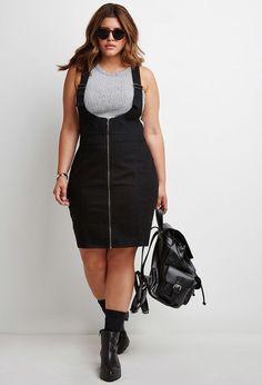 Plus Size Zipped Denim Overall Dress