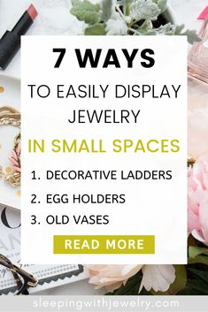 Get creative with these 7 genius jewelry display ideas for your small apartment or tiny home. These FREE display ideas can be easily found around your home. Tassel Jewelry, Pearl Jewelry, Vintage Jewelry, Ear Crawler Earrings, Old Vases, Anniversary Jewelry, Minimal Jewelry, Short Necklace, Jewelry Storage