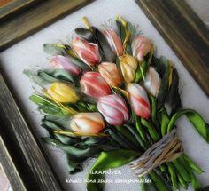 Tulipánok. falikép szalaghímzéssel.