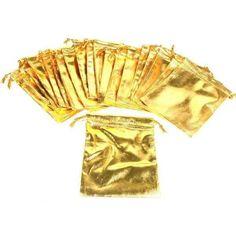 "24 Gold Metallic Drawstring Jewelry Pouches 4"""