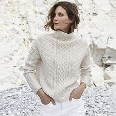 Buy Aran Knit Funnel Neck Jumper - from The White Company Roll Neck Jumpers, The White Company, Lightweight Cardigan, Funnel Neck, New Outfits, Cable Knit, Knitwear, Turtle Neck, Pullover
