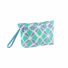 Flower Geometric Blue Turquoise Cosmetic Bag