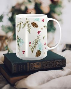 Cozy up this Winter with a large ceramic mug printed with my original Winter Pine design.  Hand and Hart Designs on Etsy.