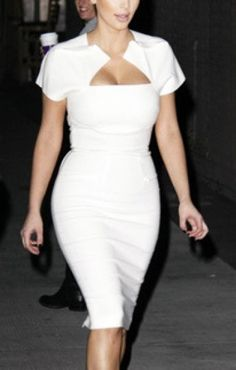 Fashion White Chest Hollow-out Cap Sleeves Figure-hugging Party Dress