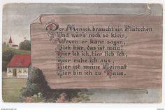 """Alt Ansichtskarte  """"Der Mensch braucht ein Plätzchen - Gedicht von Willy Böhme"""" 1917 Deutschland"""