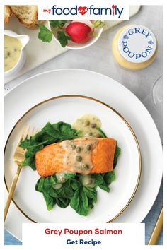 This Salmon with Lemon-Dijon Caper Sauce is an easy, tasty weeknight dinner option made even more flavorful with Grey Poupon dijon mustard. Salmon Recipes, Fish Recipes, Seafood Recipes, Recipies, Salmon Dishes, Seafood Dishes, Kitchen Recipes, Cooking Recipes, Healthy Recipes