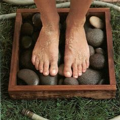 Foot rinsing station for dirty feet before you enter the house from playing outdoors.