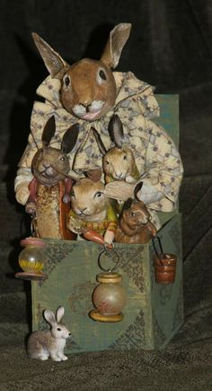 """Rabbit Jack in the box with her family.  Sort of an """"old lady in the shoe"""" box.  DeCamp now on eBay   DeCamp"""