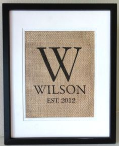 """Gifts for the Newlyweds at the Bridal Shower or Wedding:  8.5"""" x 11"""" Burlap Monogram @ Etsy"""