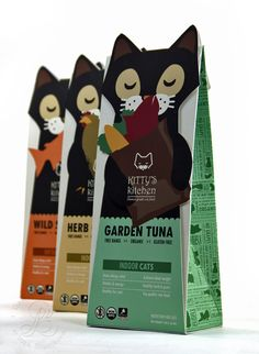 Kitty's Kitchen Cat Food Line by Lydia Burris, via Behance