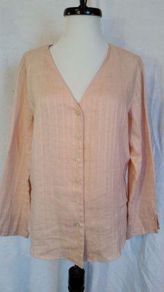 a9fcc5c0937c J. Jill Linen Long Sleeve Roll Cuff V-Neck Shirt Blouse light pink petites