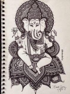 Zen Ganesh by Brandi Young. Instagram @Branbriz . Zentangle pen art doodle