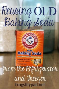 Reusing Old Baking Soda from the Frig and Freezer is a money saving option for cleaning the kitchen and bathrooms. 4 areas where I reuse old baking soda while cleaning around the house. http://frogslilypad.net