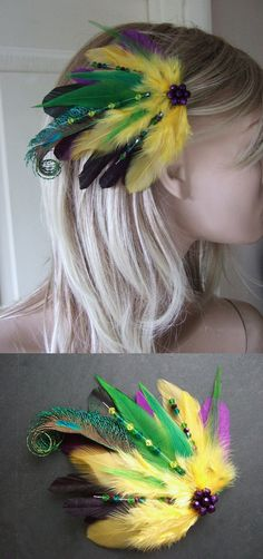 "Mardi Gras Purple Green Yellow Peacock Feathers Fascinator Hair Clip ""Emma"" Tropical Fiesta Festival Wedding Bridal Mother of the Bride - Bridal Purple Green Yellow Peacock Feathers Fascinator Hair. In the Mardi Gras Green Yellow and Pur - Mardi Gras Fancy Dress, Mardi Gras Outfits, Mardi Gras Costumes, Rio Carnival Costumes, Mardi Gras Carnival, Carnival Themes, Karneval Outfits, St. Patrick's Day, Disfraz Star Wars"