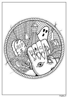 Abstract Halloween coloring page for adults, Spooky party DIY activity, Zentangle RIP art for grown ups, scary creepy doodle art by Prajakta Colouring Pages, Printable Coloring Pages, Adult Coloring Pages, Coloring Books, Halloween Coloring Pictures, Halloween Coloring Pages, Henna Doodle, Halloween Doodle, Halloween Ideas