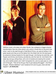 JK Rowling on Matthew Lewis becoming attractive.