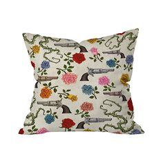 Fun design is the best weapon against dreary decor. This Hand Watered Outdoor Throw Pillow takes sublime to an inescapable edge, pairing pistols with sweetly colored roses – and a dash of thorny vines ...  Find the Hand Watered Outdoor Throw Pillow, as seen in the Palihotel's Vintage Revival Collection at http://dotandbo.com/collections/palihotels-vintage-revival?utm_source=pinterest&utm_medium=organic&db_sku=105634