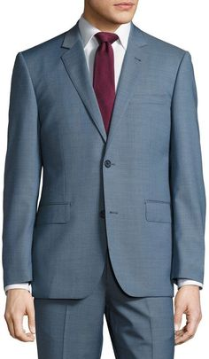 Neiman Marcus Modern-Fit Two-Button Two-Piece Suit, Medium Blue