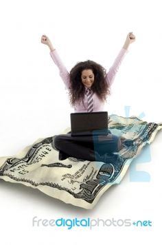 Business Lady Sitting With Laptop Thanks - it makes things so easy