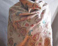 Vintage Hand Embroidered Wool Shawl, Wrap - Paisley Design, One of a Kind