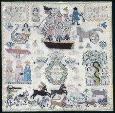 Danish Sampler ~ 1757 ~ Denmark ~ Linen, plain weave; embroidered in silk ~ Art Institute of Chicago 1977.488