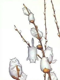 Willowy Kitties, by morreth on LJ cute whimsical illustration of willow catkins made of cats Crazy Cat Lady, Crazy Cats, I Love Cats, Cute Cats, Funny Cats, Hilarious Animals, Here Kitty Kitty, Cat Drawing, Cat Art