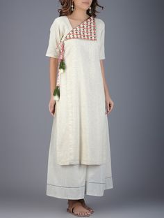 Buy Ivory Coral Green Handwoven Khadi Kurta with Embroidery Women Kurtas Online…