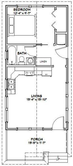16x32 Tiny House -- 511 sq ft -- PDF Floor Plan -- Model 1W