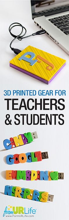 3D Printed Gear For Teachers & Students! (And it's totally stylish...) Start the school year right with a customized USB Flash Drive or Hard Drive that you designed yourself. Just in time to start organizing your Back To School shopping list :)