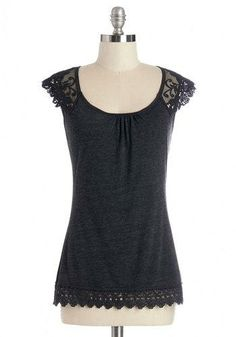 Grace and Lace Top in Charcoal