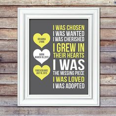 Adoption Print With Details I Was Chosen by AugustBloomDesigns