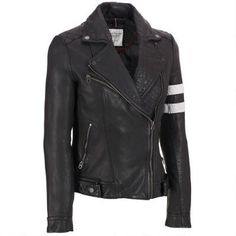 b4958fe12883d Leather Motorcycle Jacket w Striped Sleeve Riders Jacket