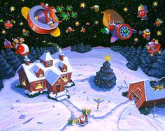 North Pole Surprise Giclee Print by StubbornPixelStudios on Etsy