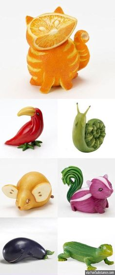 Each animal is made from a different fruit/vegetable. Great kitchen decor.