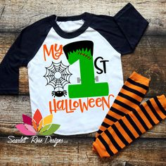 My First Halloween SVG, DXF cut file for silhouette cameo and cricut vinyl cutting machines. Halloween Vinyl, Halloween Shirts For Boys, Halloween Onesie, Baby First Halloween, Kids Shirts, Baby Boy Outfits, Kids Outfits, Vinyl Shirts, Baby Costumes