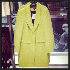 Our cosy and fluffy lemon boyfriend coat makes winter easier to bear! #coat #boyfriendcoat #yellow #cosy #fluffy #AH13 #welove #topshopoxfordcircus