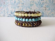 3 Single Wrap Leather Bracelets, starting at $5 in the #Handmade auction, 11/12 @ 1PM PT.