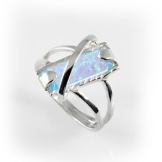 Handmade 925 sterling silver fire opal ring art fashion new style blue craft, silver opal ring, silver opal jewelry, blue stone silver ring on Etsy, $57.00