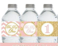 Printable Water Bottle Labels - Drink Labels Girl 1st First Birthday Gold Glitter Blush Pink Chevron Dots - Big One - INSTANT DOWNLOAD