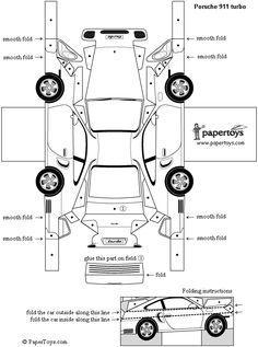 Porsche 911- Paper Cutouts by PaperToys.com