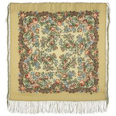 Wool scarf Pure Natural Authentic Pavlovo Posad Shawl Russian Style Silk fringe #PavlovoPosad #ShawlWrap