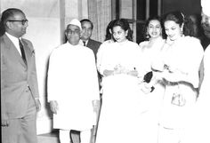 Photo Studio/Feb.52,A14fAt Home given by the Shri R.R. Diwakar, Minister of State for I. & B. to meet the delegates to the I.E. Festival at Rashtrapati Bhavan, New Delhi on February 22, 1952.Some India Film Stars photographed with Shri Diwakar. Photo Division #bollywoodirect #bollywood #filmfestival #rarepic